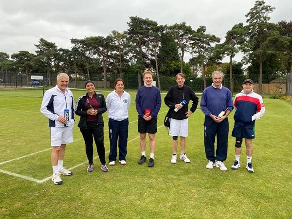 WInners and runners up at the Charity Tournament 2021. Left to right, Mike, Noran, Sarah (Chair), Todd, Rory, Mark and Chris.